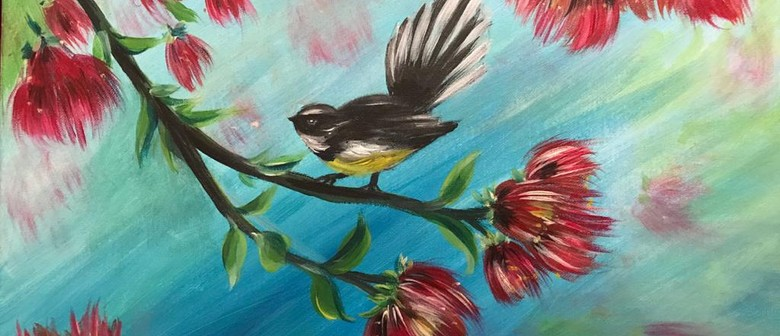 Paint & Chill Friday Night - Fantail on Pohutukawa