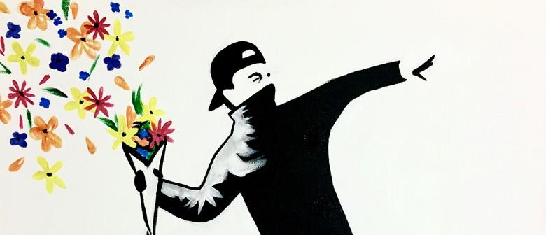 Paint and Wine Night - Bansky Flower Thrower - Paintvine