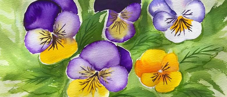 Watercolour Night - Wild Viola Flowers - Paintvine
