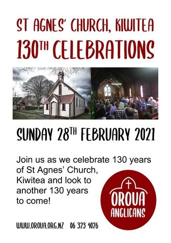 St Agnes Kiwitea's 130th