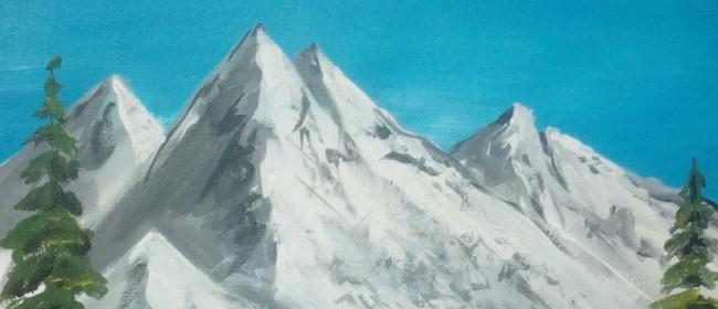 Paint & Wine Night - Bob Ross Snowy Mountains