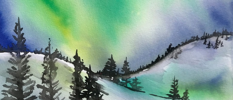 Watercolour & Wine Night - Northern Lights