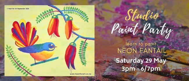 Paint Party - Neon Fantail Painting - Wellington