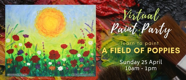 Paint Party - ANZAC DAY Poppy Painting - Online Art Class