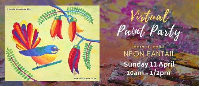 Paint Party - Neon Fantail Painting - Online Art Class