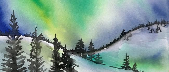 Watercolour Night - Northern Lights