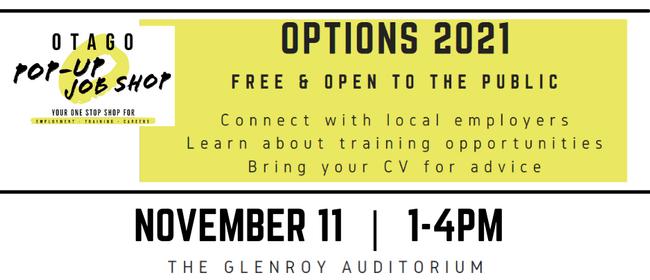 OPTIONS 2021 - Otago Pop Up Job Shop Expo