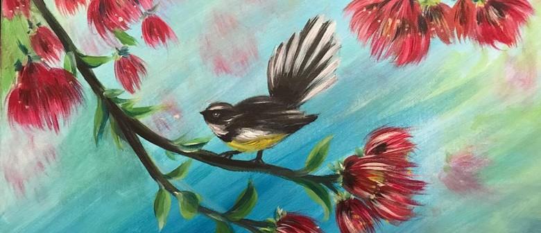Paint & Chill Saturday Arvo - Fantail on Pohutukawa