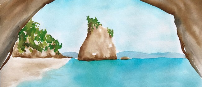 Watercolour Night - Cathedral Cove