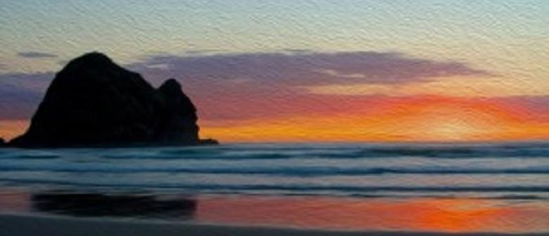 Art in Bloom - Piha Sunset Painting