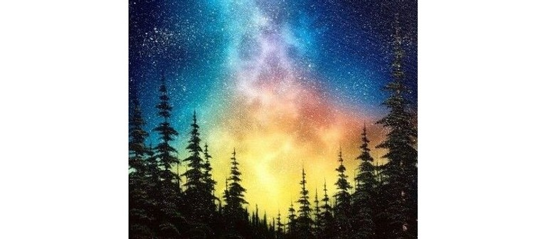 Wine and Paint Party - Galaxy Forest Painting