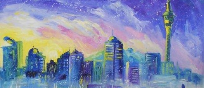 Wine and Paint Party - Auckland Cityscape