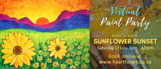 Paint Party - Sunflower Sunset Painting - Online Art Class