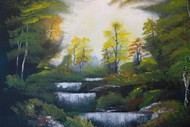 Image for event: Paint and Wine Afternoon - Bob Ross Autumn Forest