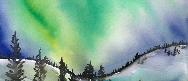 Watercolour & Wine Night - Northern Lights