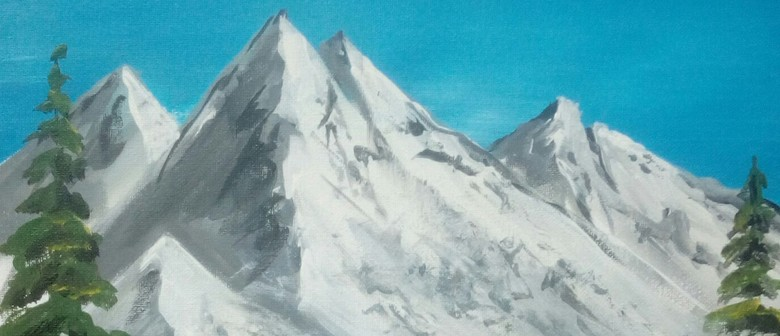 Paint and Wine Night - Bob Ross Snowy Mountain