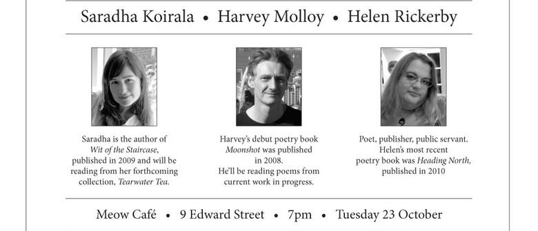Poetry by Saradha Koirala, Harvey Molloy & Helen Rickerby