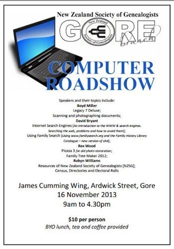 NZSG Gore Branch Computer Roadshow