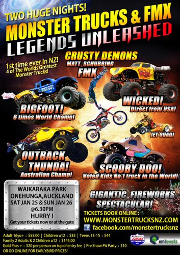 Monster Trucks Fmx Legends Unleashed Onehunga Auckland