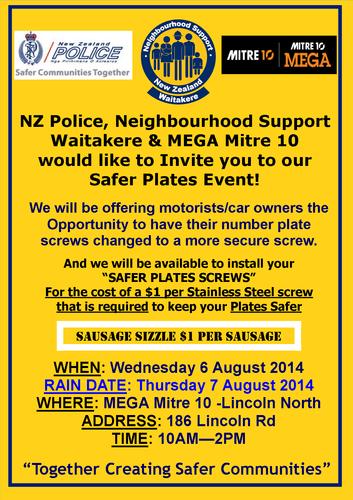 Safer Plates Mega Mitre 10 Lincoln Rd - Auckland - Eventfinda