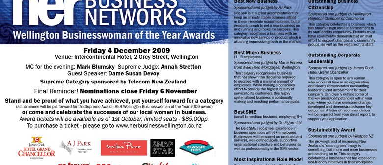 HER Wellington Businesswoman of the Year Awards 2009